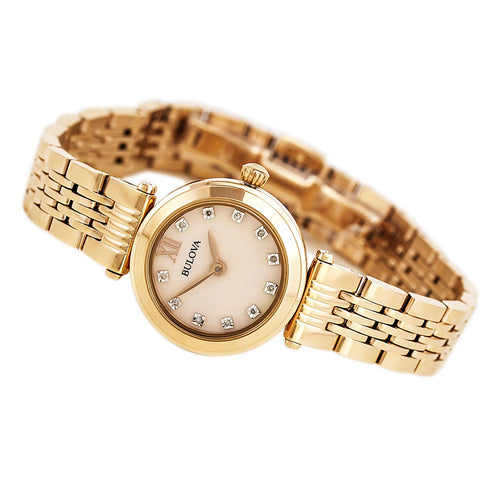 Bulova 97P116 Women's Diamond Accented Rose Gold MOP Dial Rose Gold Plated Steel Bracelet Watch