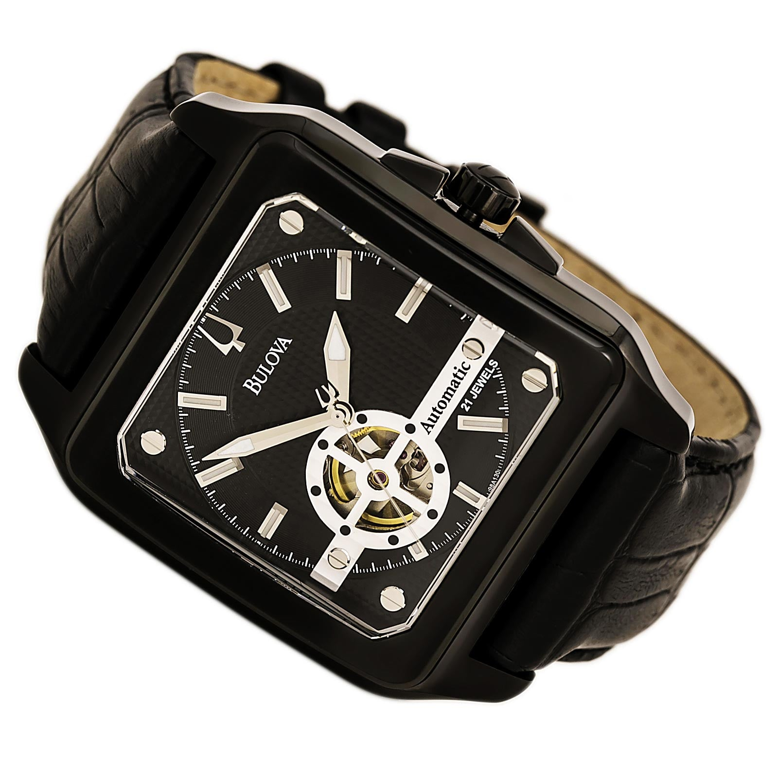 Bulova 98A130 Men's Mechanical Black Dial Black IP Steel Black Leather Strap Automatic Watch