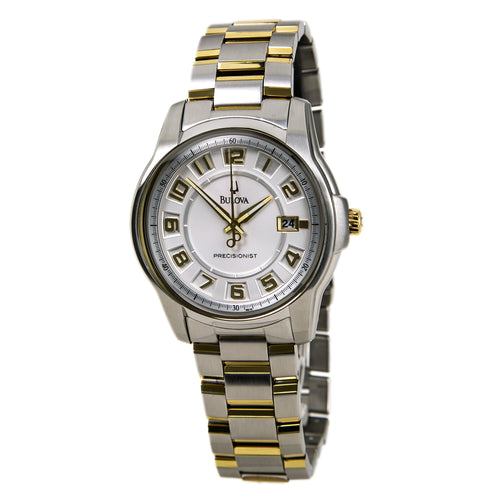 Bulova 98B140 Men's Precisionist Super Accurate Two Tone SS White Dial Watch-New with Defects 98% New
