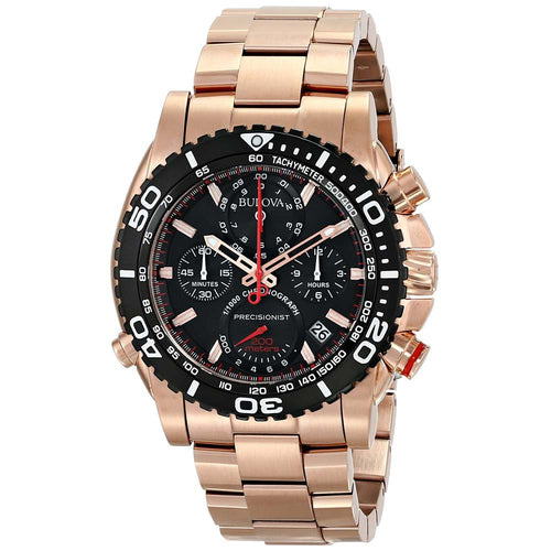 Bulova 98B213 Men's Precisionist Black Dial Rose Gold Steel Chronograph Dive Watch