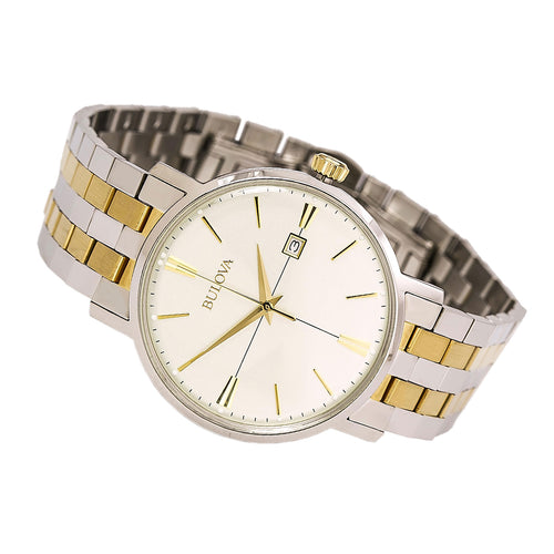 Bulova 98B255 Men's Classic Cream Dial Two Tone Stainless Steel Bracelet Watch