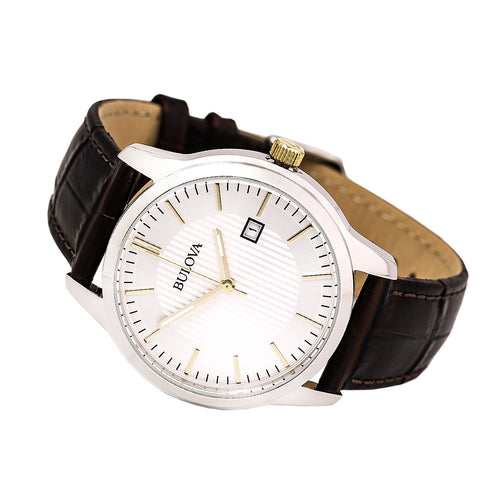 Bulova 98B266 Men's Classic Silver Dial Brown Leather Strap Watch