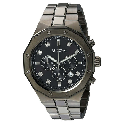 Bulova 98D142 Men's Diamond Black Dial Grey IP Stainless Steel Chronograph Watch