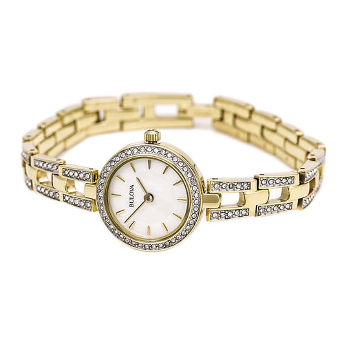 Bulova 98L213 Women's Crystal White MOP Dial Yellow Gold Plated Steel Watch