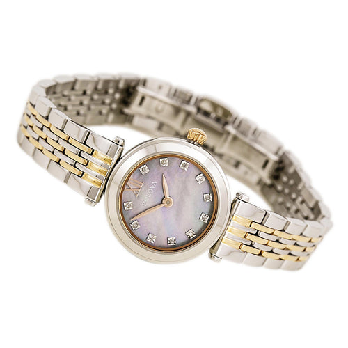 Bulova 98P156 Women's Diamond Accented White MOP Dial Two Tone Rose Gold Steel Bracelet Watch