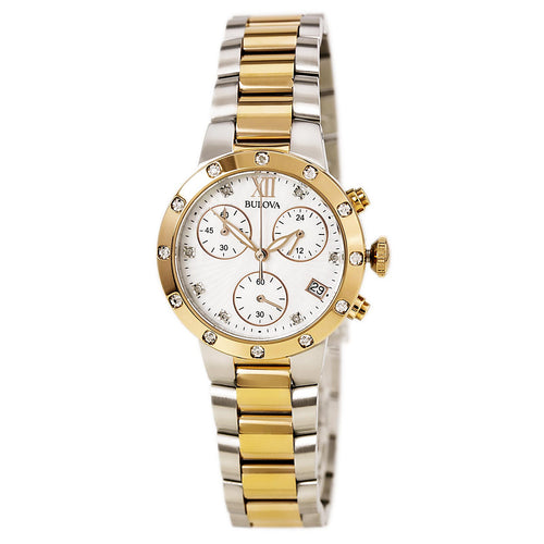 Bulova 98R210 Women's Maiden Lane Chronograph MOP Dial Two Tone Steel Diamond Watch