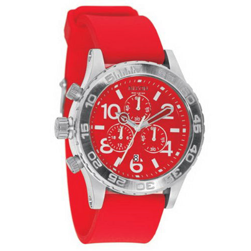 Nixon A038200 Men's Lefty Red Dial Rubber Strap Chronograph Dive Watch