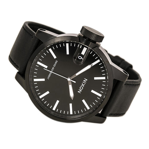 Nixon A127001 Men's The Chronicle Black Dial Black IP Steel Black Leather Strap Lefty Watch