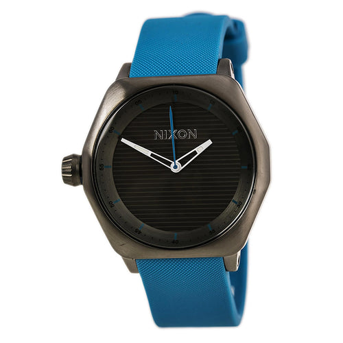 Nixon A159648 Men's The Fader Black Dial Gunmetal IP Steel Sky Blue Rubber Strap Dive Watch