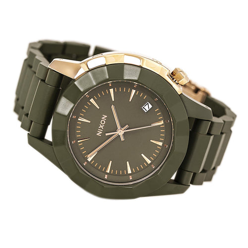 Nixon A2881419 Women's The Monarch Olive Green Dial Olive Green Acetate Bracelet Watch