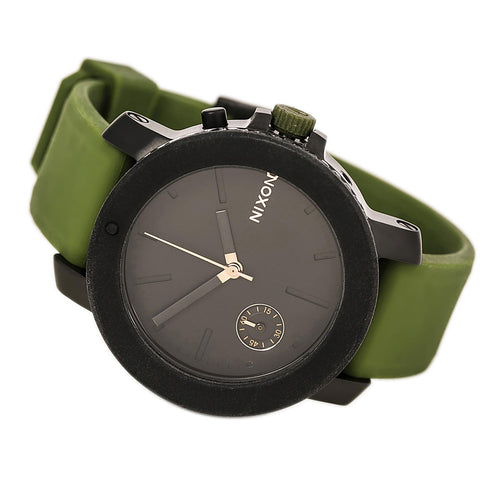 Nixon A3171089 Women's The Raider Black Dial Green Silicone Strap Crystal Accented Watch