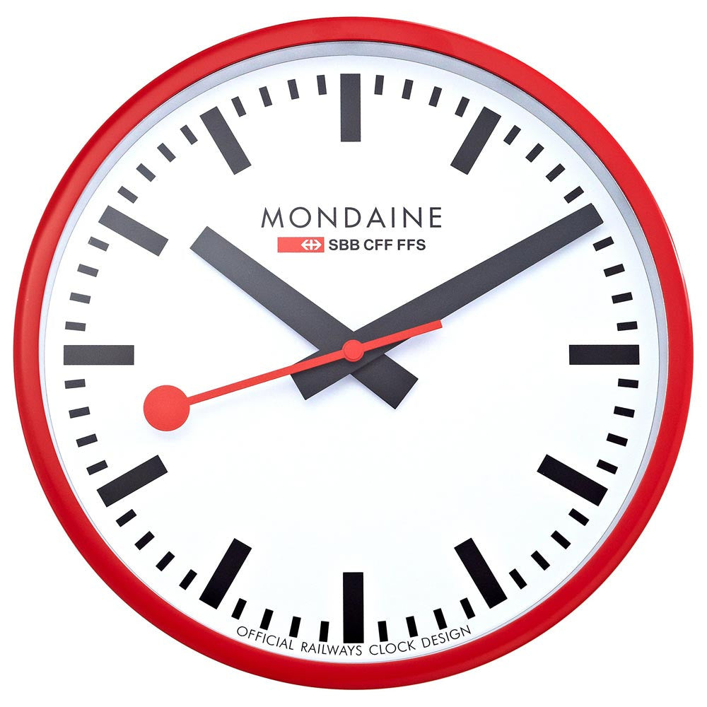 Mondaine A990.CLOCK.11SBC White Dial Red Frame Wall Clock