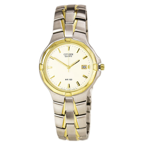 eco drive watches solar watches on discount watch store citizen ak1004 55a men s classic beige dial two tone yellow gold stainless steel watch