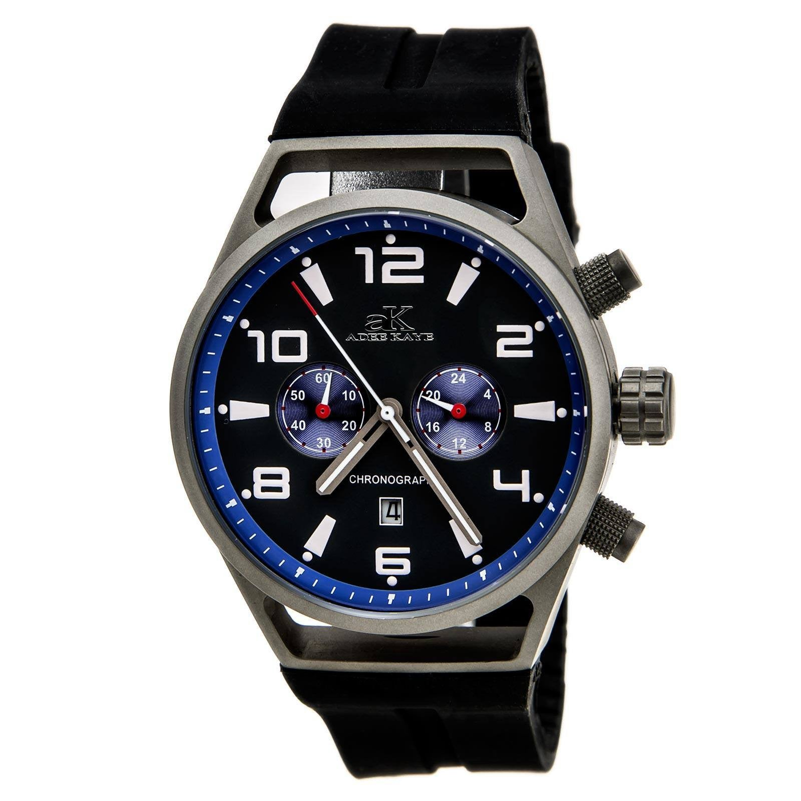 Adee Kaye AK7232-MT Blue Rubber Strap Chronograph Watch