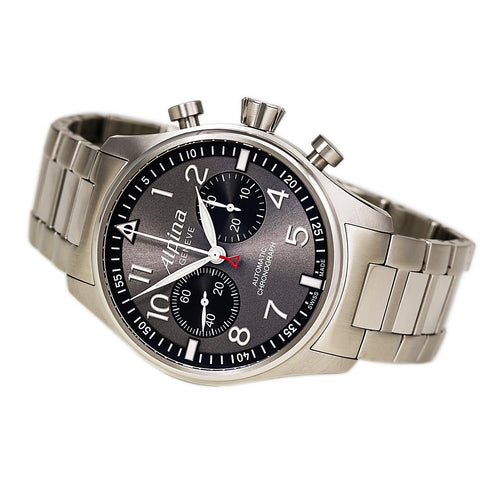 Alpina AL-860GB4S6B Men's Startimer Pilot Black Dial Steel Bracelet Chronograph Automatic Watch