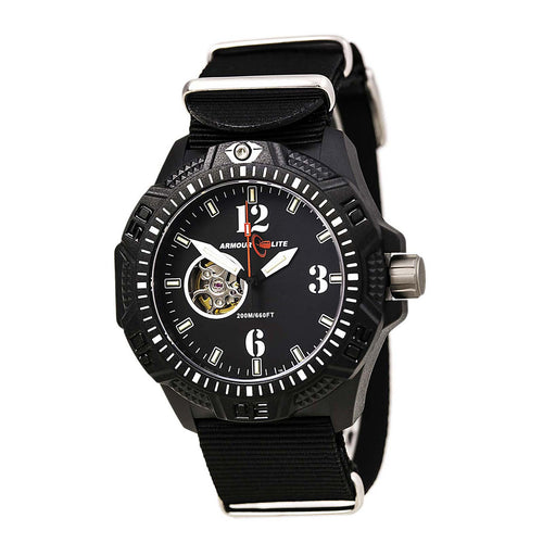 Armourlite AL1203 Men's Caliber White Accented Black Dial Black Strap Automatic Dive Watch