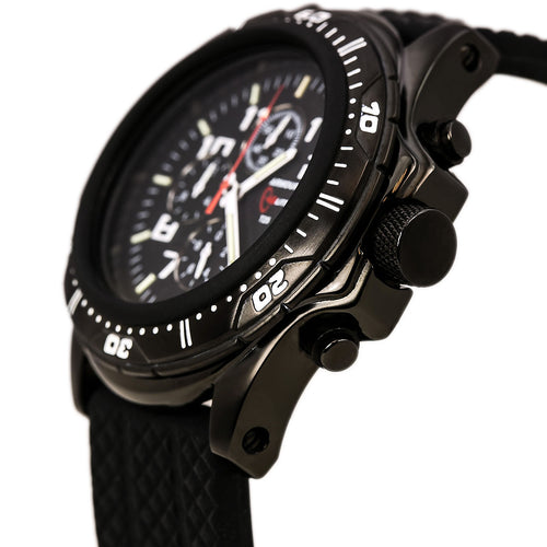 Armourlite AL43 Men's Professional Black Dial Black Rubber Strap Green Tritium Fill Chrono Watch