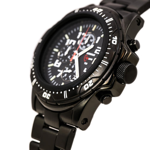 Armourlite AL45 Men's Professional Black Dial Black IP Steel Green Tritium Fill Chrono Watch