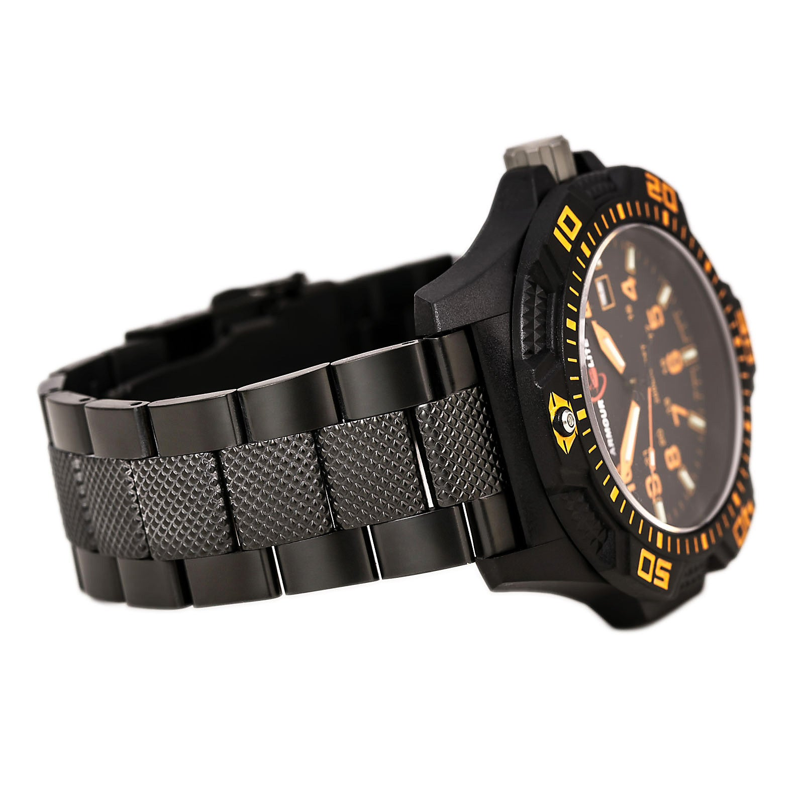 Armourlite AL622 Men's Caliber Orange Accented Black Dial Black IP Steel Bracelet Green Tritium Fill Dive Watch