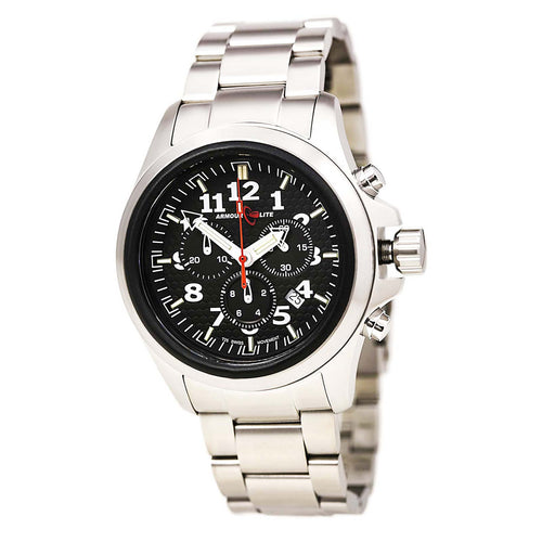 Armourlite AL812 Men's Officer White Accented Black Dial Steel Bracelet Chrono Watch