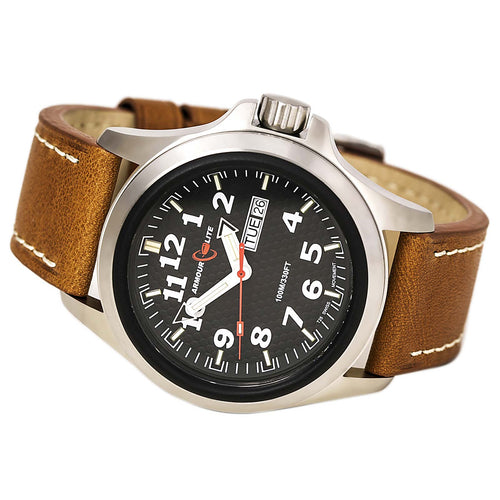 Armourlite AL821 Men's Officer White Accented Black Dial Brown Leather Strap Watch