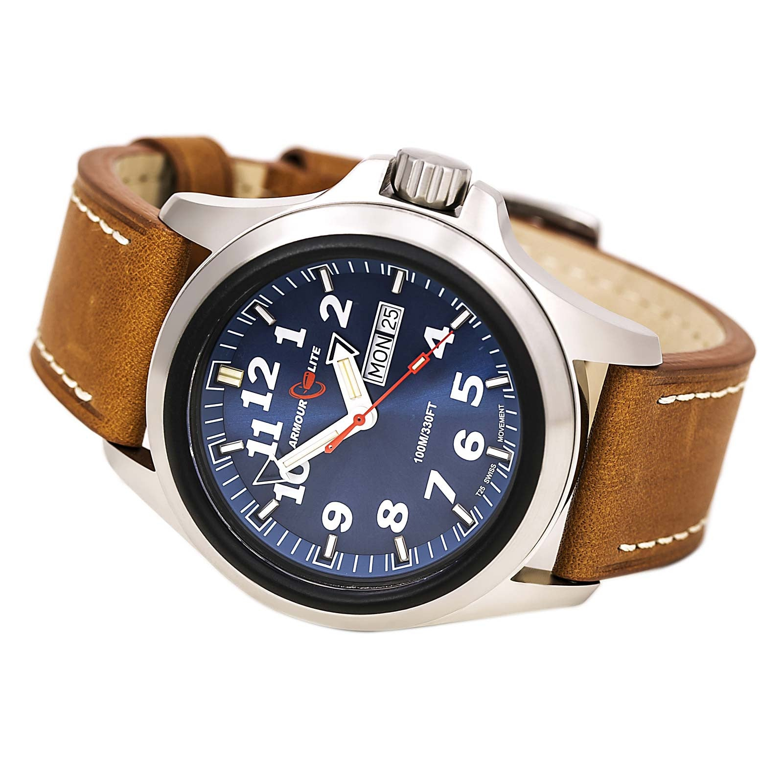 Armourlite AL823 Men's Officer White Accented Blue Dial Brown Leather Strap Watch