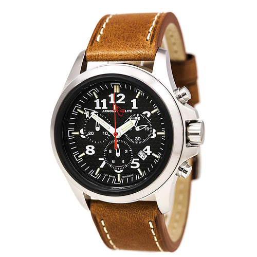 Armourlite AL832 Men's Officer White Accented Black Dial Brown Leather Strap Chrono Watch