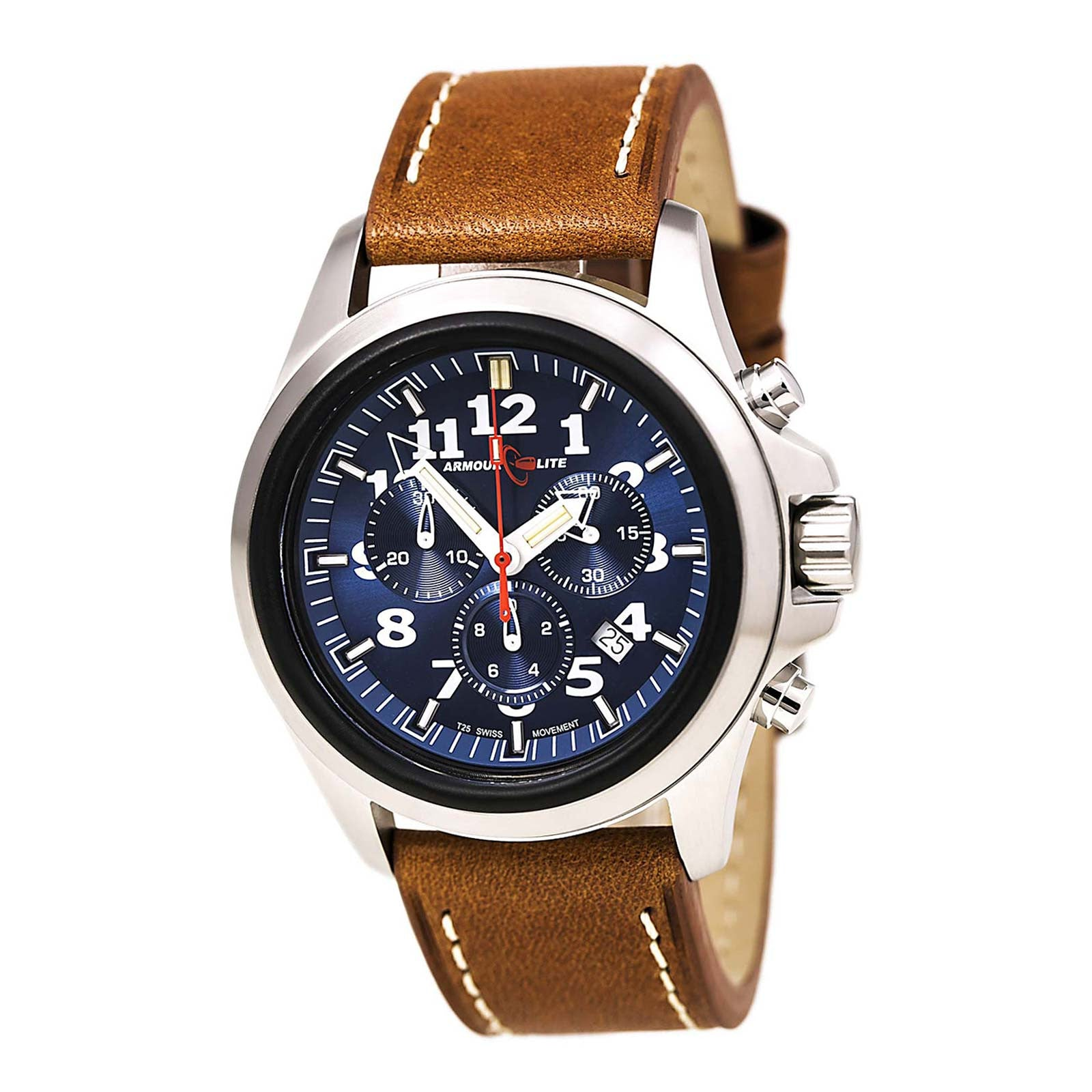 Armourlite AL834 Men's Officer White Accented Blue Dial Brown Leather Strap Chrono Watch