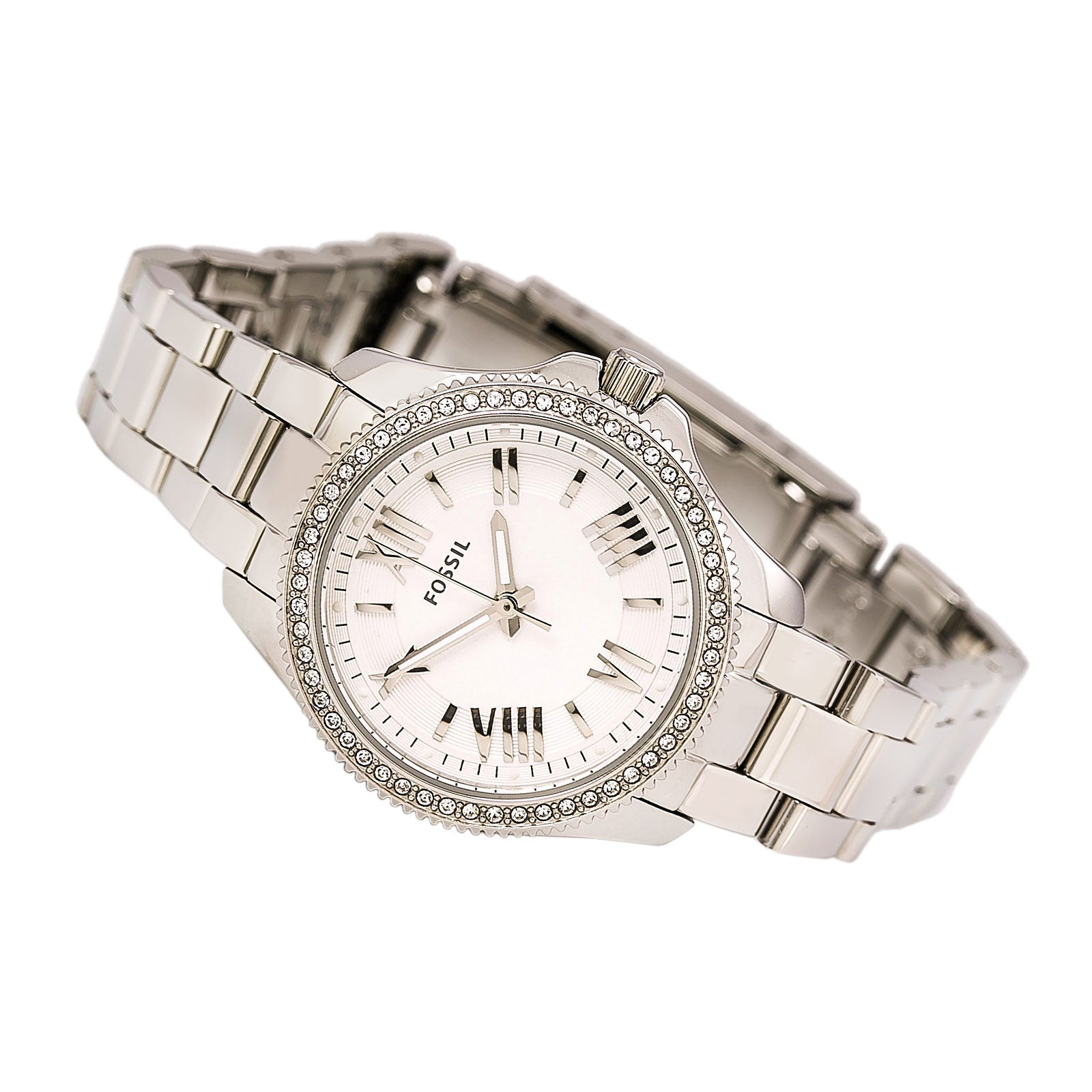 Fossil AM4576 Women's Cecile Mini Crystal Accented Bezel Silver Dial Steel Bracelet Watch