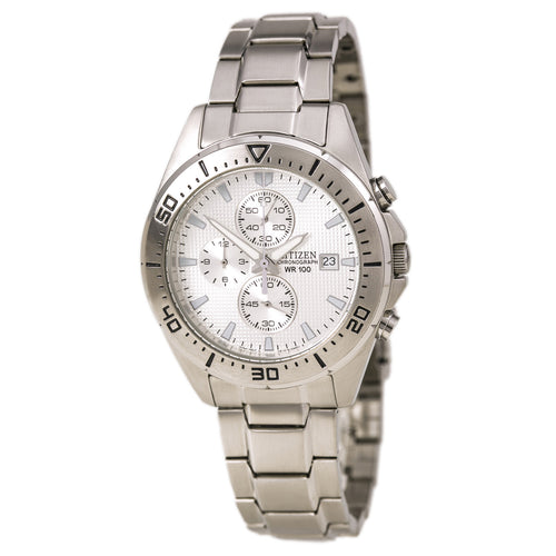 Citizen AN3460-56A Men's Chronograph Silver Tone Dial Stainless Steel Watch