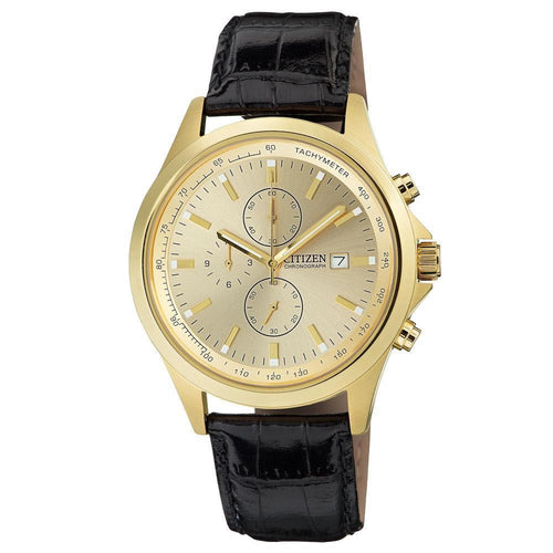 Citizen AN3512-03P Men's Gold Tone Dial Gold Plated Steel Leather Strap Chronograph Watch