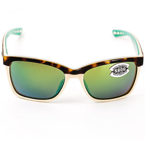 Costa Del Mar ANA105OGMGLP Women's Anaa Polarized Green Mirror 580G Lenses Retro Tortoise Cream Mint TR-90 Nylon Frame Sunglasses