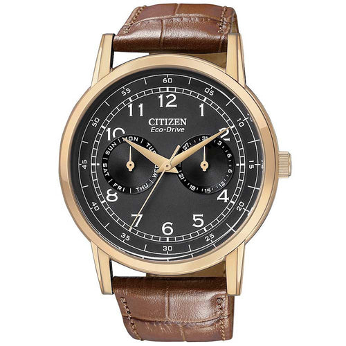 Citizen AO9003-08E Men's Eco-Drive Rose Gold Tone Black Dial Brown Leather Strap Watch