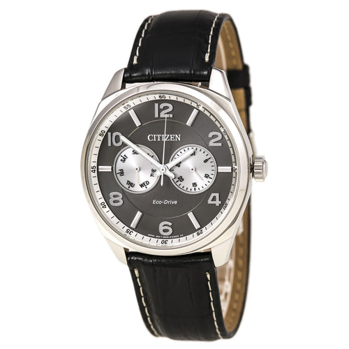 Citizen AO9020-17H Men's Eco-Drive Classic Grey Dial Black Leather Strap Watch