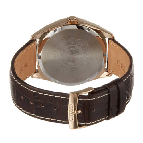 Citizen AO9023-01A Men's Eco-Drive Dress Classic Silver Dial Rose Gold Steel Brown Leather Strap Watch