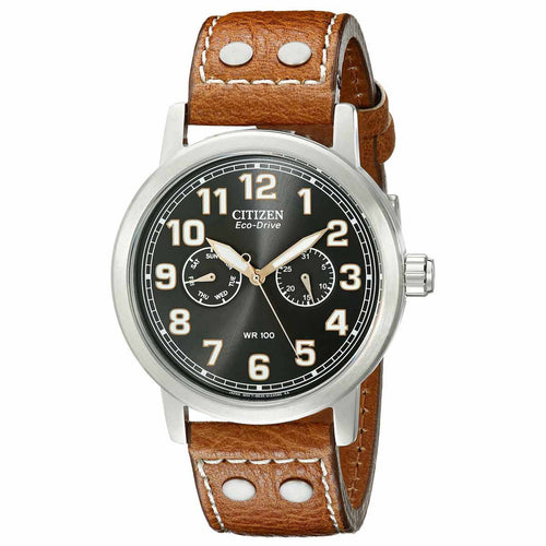 Citizen AO9030-05E Men's Avion Eco-Drive Black Dial Brown Leather Strap Watch