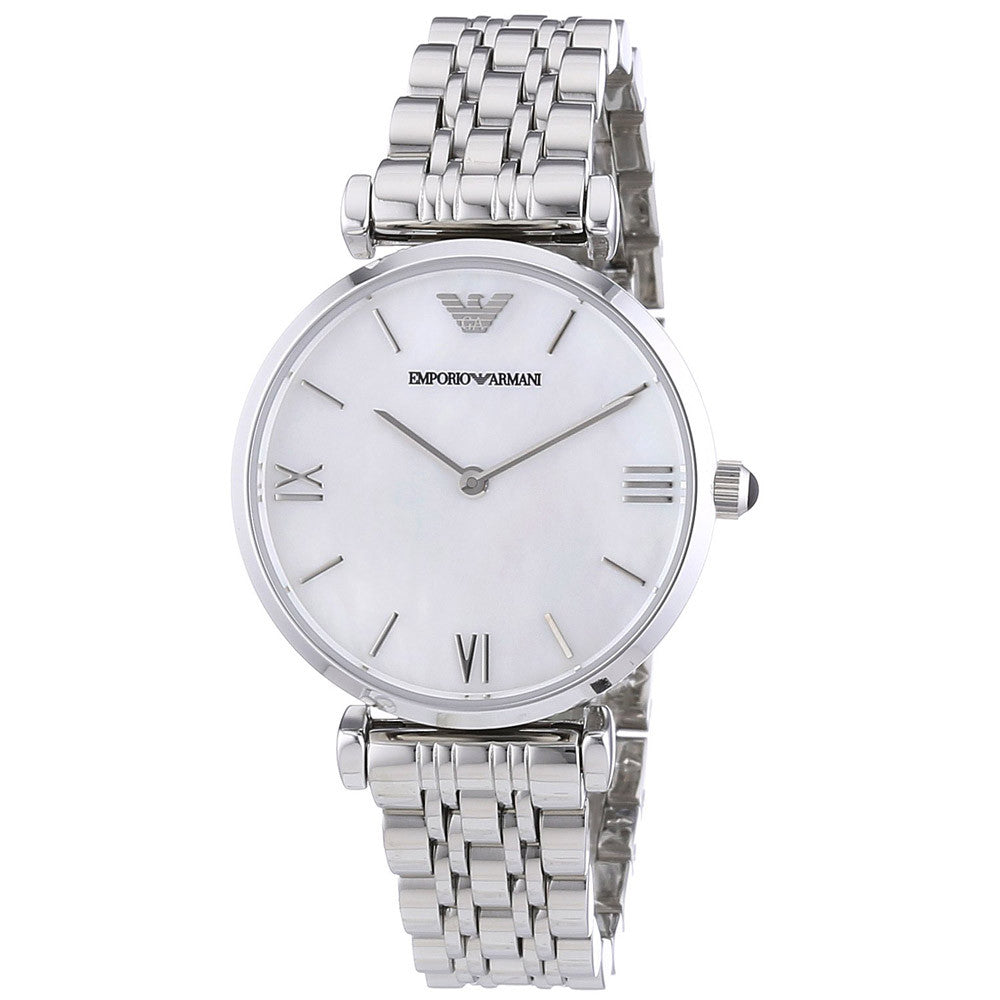 Armani AR1682 Women's Retro White MOP Dial Steel Bracelet Watch