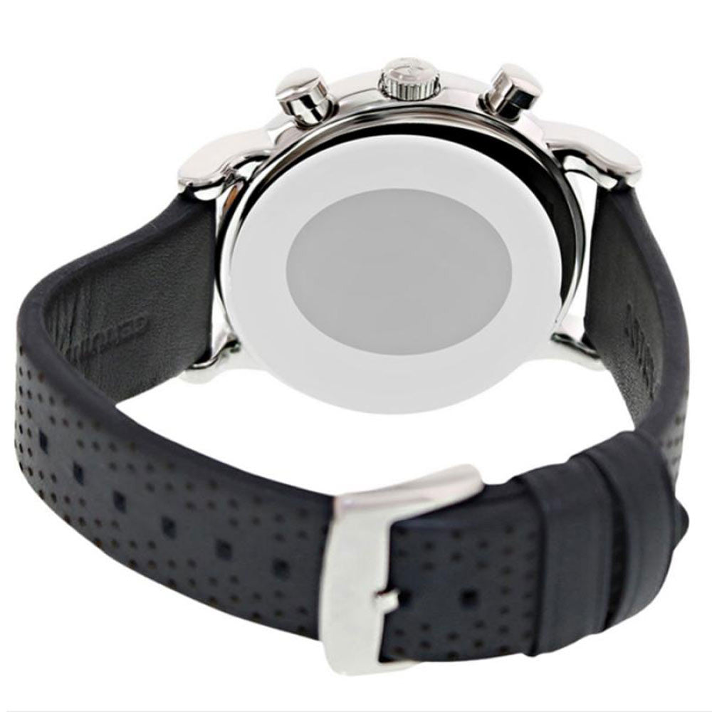 Armani AR1735 Men's Classic Sports Matte Grey Dial Grey Perforated Leather Strap Chrono Watch