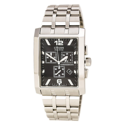 Citizen AT0910-51E Men's Largo Black Dial Stainless Steel Eco-Drive Chronograph Watch