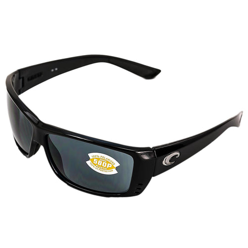 Costa Del Mar AT11OGP Cat Cay Polarized Grey 580P Lenses Shiny Black TR 90 Nylon Frame Sunglasses