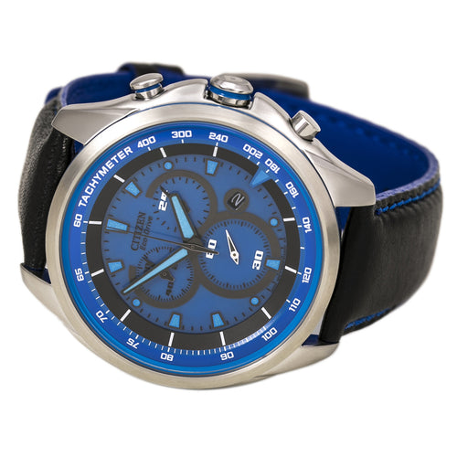 Citizen AT2180-00L Men's WDR 3.0 Eco-Drive Blue Dial Chronograph Watch