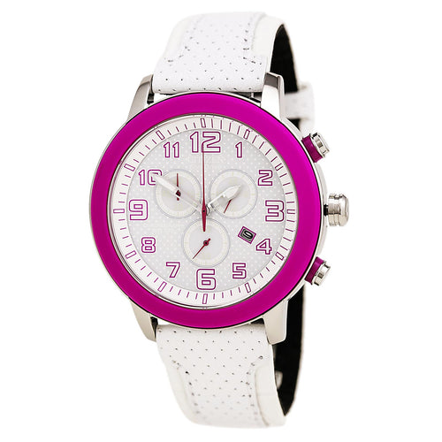 Citizen AT2230-03A Women's BRT 3.0 Eco-Drive Chronograph White Dial Pink Bezel Watch