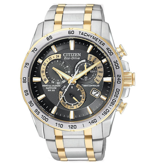 Citizen AT4004-52E Men's Eco-Drive Two Tone Perpetual Calendar Atomic Black Dial Watch