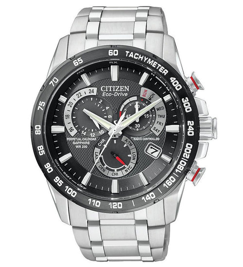 Citizen AT4008-51E Men's Eco-Drive Stainless Steel Black Dial Perpetual Calendar Watch