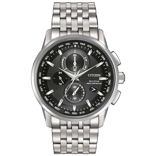 Citizen AT8110-53E Men's World Chronograph A-T Eco-Drive Black Dial Steel Bracelet Watch