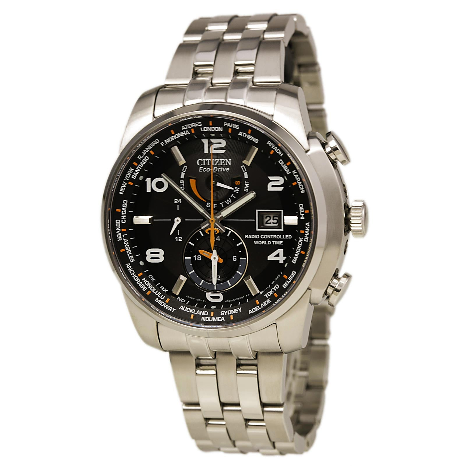 Citizen AT9010-52E Men's World Time A-T Eco-Drive Radio Controlled Steel Dive Watch