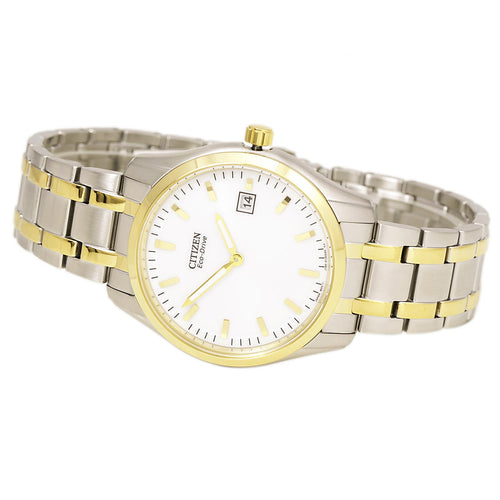 Citizen AU1044-58A Men's Eco-Drive Dress White Dial Two Tone Steel Watch