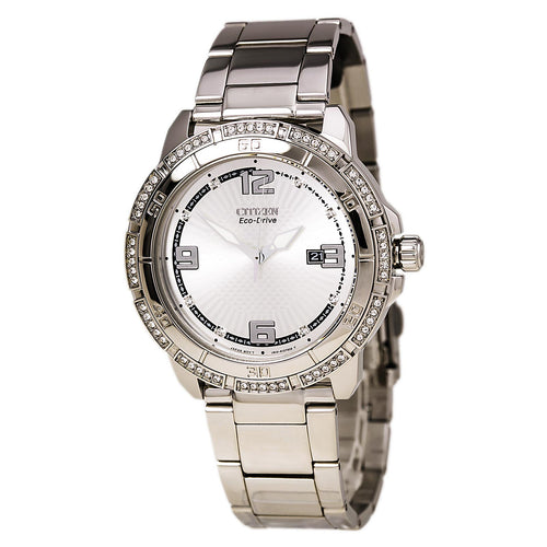 Citizen AW1340-52A Men's Eco-Drive POV Swarovski Crystals Bezel Silver Dial Steel Bracelet Watch