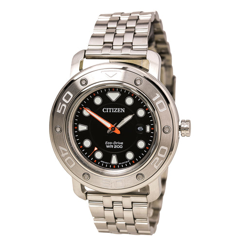 Citizen AW1530-65E Men's Eco-Diy Black Dial Interchangeable Steel Bracelet Dive Watch