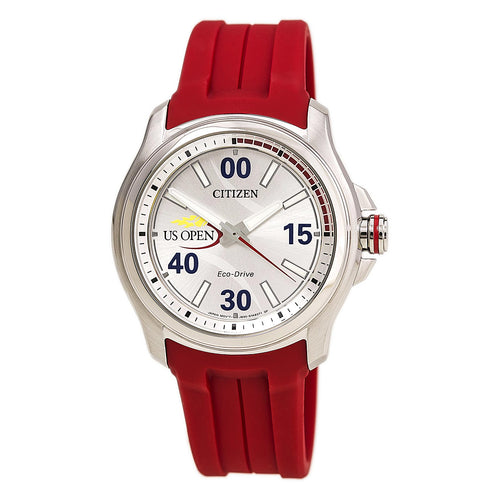 Citizen AW2011-08A Unisex US Open Silver Dial Interchangeable Red Strap Watch